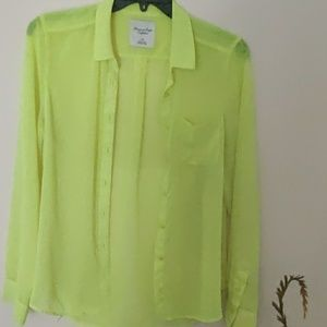 American Eagle Outfitters Sheer Neon Blouse EUC